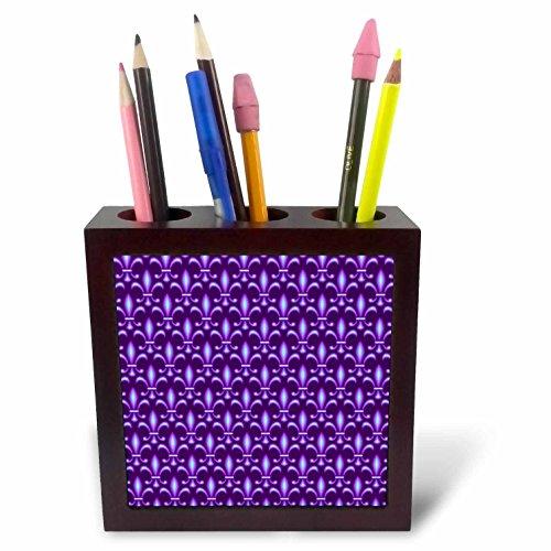 3dRose ph_220242_1 Fleur De LYS Pattern in Tonal Blue and Purple Tile Pen Holder, 5