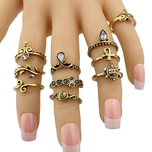 Womens Girls Gift Fashion 10PC/Set Knuckle Ring Set Faux Crystal Rings AfterSo (10PC/Set Rings, Gold - 1)
