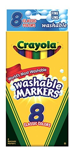 (Crayola Ultra-Clean Washable Markers, Color Max, Fine Line Classic Colors 8 Ea (Pack of 3))