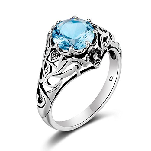 SzjinAo Rings Blue Gem Sotne Antique Band Hollow Flower Ring for Women and Man Promise Christmast Birthday New Year Novelty Gift, Size 5 6 7 8 9 10