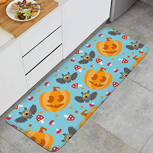 Fashion Kitchen Mat Halloween Owl Pumpkin Sky Blue Floor Mat Washable Entrance Rug Clear and Bright Color -