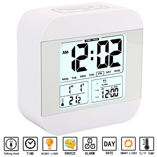 Alarm Clock for Kids, Aitey Talking Alarm Clock with Large Digital Display, 3 Alarms, 7 Rings, Snooze, Optional Weekday Mode and Low Light Sensor Technology for Bedrooms and Office Desk (White)