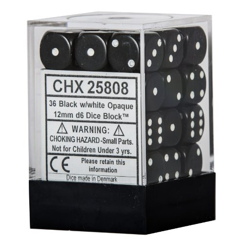 Black with White Dice Block, 12mm D6, Pack of 36 Black & White Dice