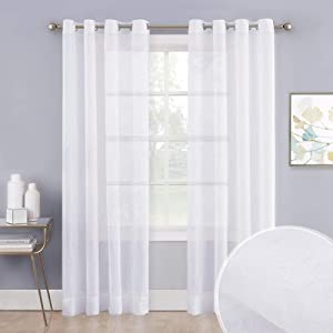 """NICETOWN Living Room Sheer Window Curtains 95 inches Long, Crushed Sheer Window Treatment Grommet Voile Panels Balance Light and Privacy for Large Window (104"""" Wide Total 2 Pieces, Ivory)"""
