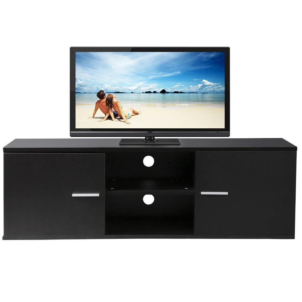 Finefurniture Classic Wood TV Stand for 55 inch TV with Closets and Open Shelf, Black