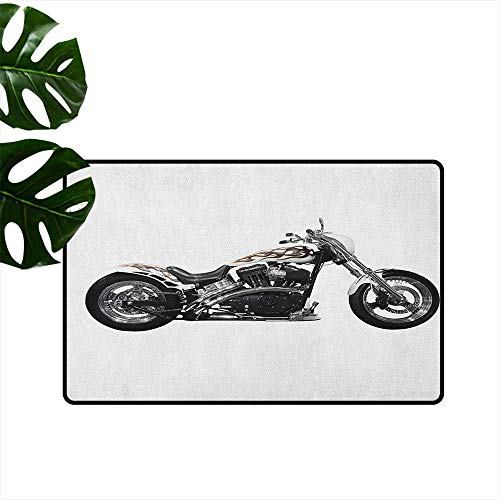 (RenteriaDecor Manly,Rubber Door mat Motorbike Hipster Style Dangerous Risky Ride Driving Vehicle Throttle Chopper 31