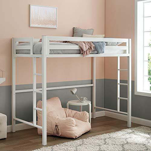 Walker Edison Furniture Company Metal Twin Loft Bunk Kids Bed Bedroom Storage Guard Rail Ladder, White
