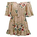 CHIC DIARY Women Floral Playsuit Sexy Off Shoulder Flare Sleeve Romper For Summer (Lotus Pink, L)