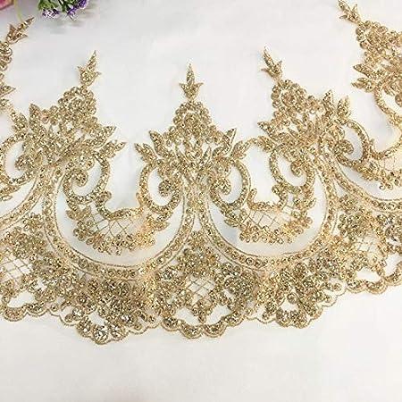 1 Yard Beautiful embroidered pattern lace trimming ribbon Net Wedding dress Sequ