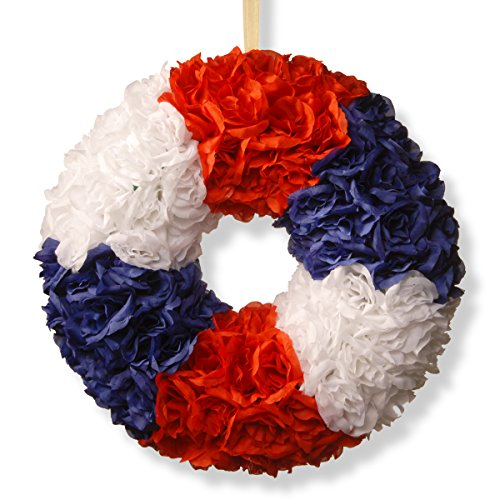 National Tree 18 Inch Patriotic Wreath with Red, White and Blue Roses (RAP-528518W-1)