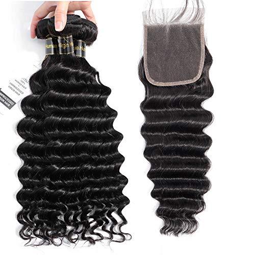 Peruvian Loose Deep Wave Bundles with Closure, 9A Deep Curly Bundles and Closure Loose Wave with Closure Virgin Human Hair Weave Full and Thick Remy Hair Bundles (10 12 14+10Closure) ()