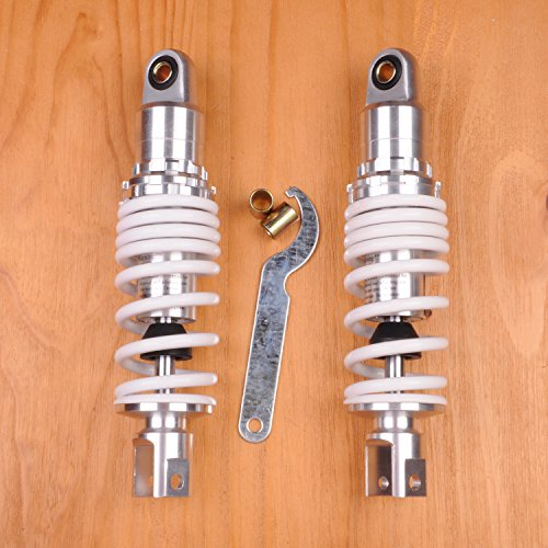 Price comparison product image Liquor 250mm Pair Shock Absorbers For Universal Motorcycles Replacement Suspension White