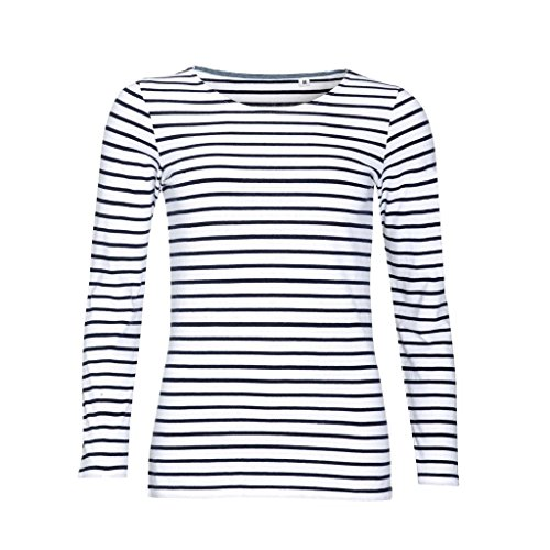 Blue Stripe T-shirt (SOLS Womens/Ladies Marine Long Sleeve Stripe T-Shirt (S) (White/Navy))
