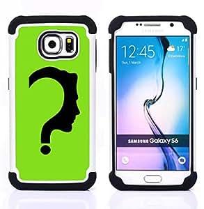 """Samsung Galaxy S6 / SM-G920 - 3 en 1 impreso colorido de Altas Prestaciones PC Funda chaqueta Negro cubierta gel silicona suave (El Acertijo"""")"""
