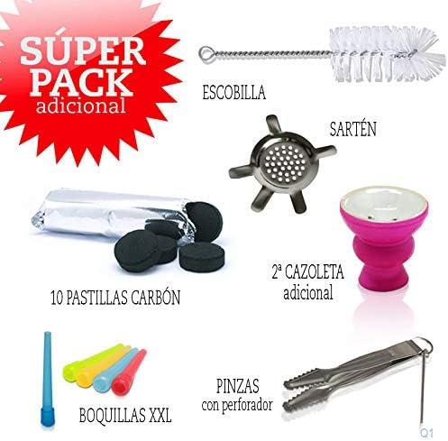 padella 10 pastiglie di carbone MADGROW Narghil/è nero Shisha 25 cm 2 tubi Pinze//perforatore super confezione: 1 fornello extra spazzola. ugelli XXL