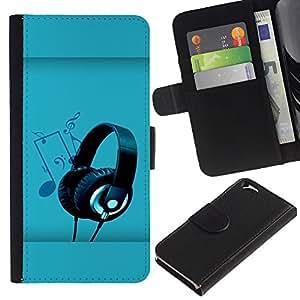 All Phone Most Case / Oferta Especial Cáscara Funda de cuero Monedero Cubierta de proteccion Caso / Wallet Case for Apple Iphone 6 // Headphones Music Art Note Party Drawing