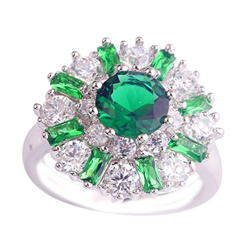 Empsoul 925 Sterling Silver Natural Novelty Plated Emerald Quartz & White CZ Halo Floral Shaped Ring