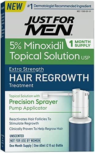 Just for Men Minoxidil Extra Strength Hair Loss Regrowth Treatment for Men with Precision Sprayer, 2 Ounces (1 Month Supply)