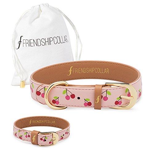 FriendshipCollar Dog Collar and Matching Bracelet Set - Tutti Poochi - Vegan Leather - 8 Sizes Available