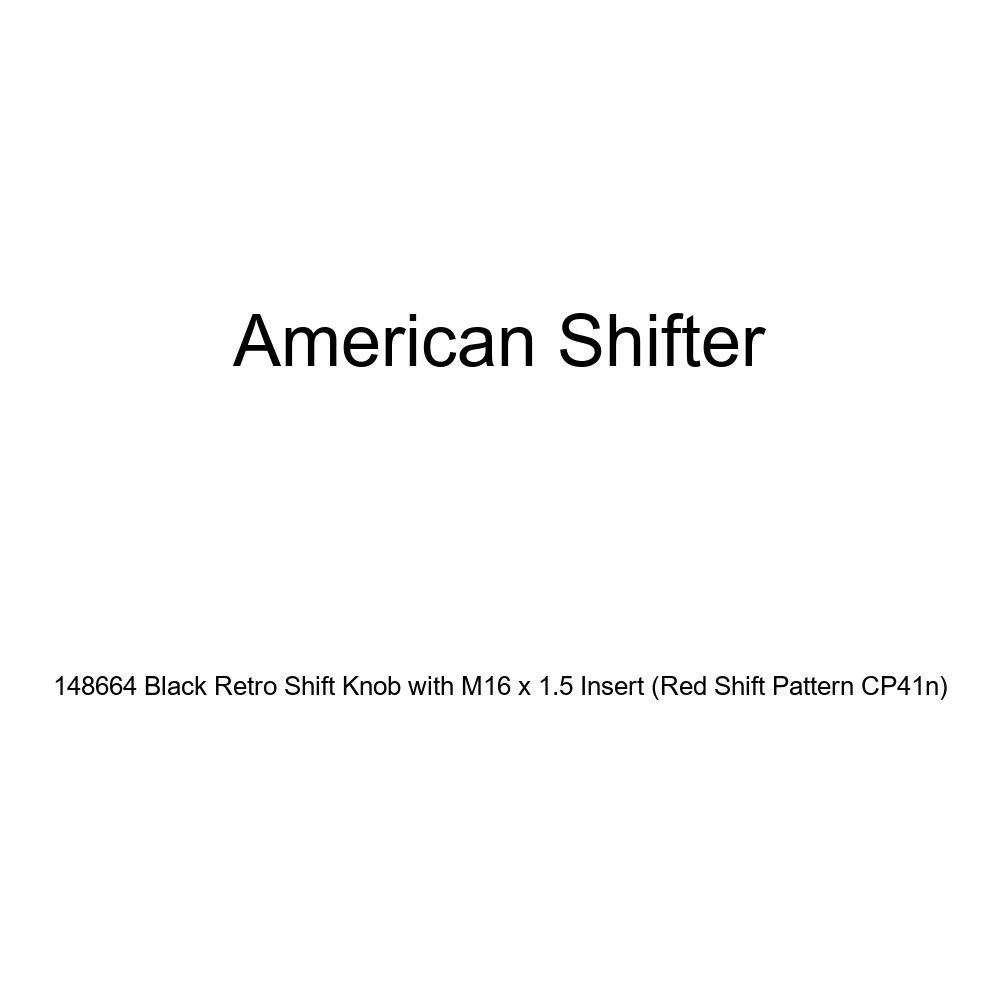 American Shifter 148664 Black Retro Shift Knob with M16 x 1.5 Insert Red Shift Pattern CP41n