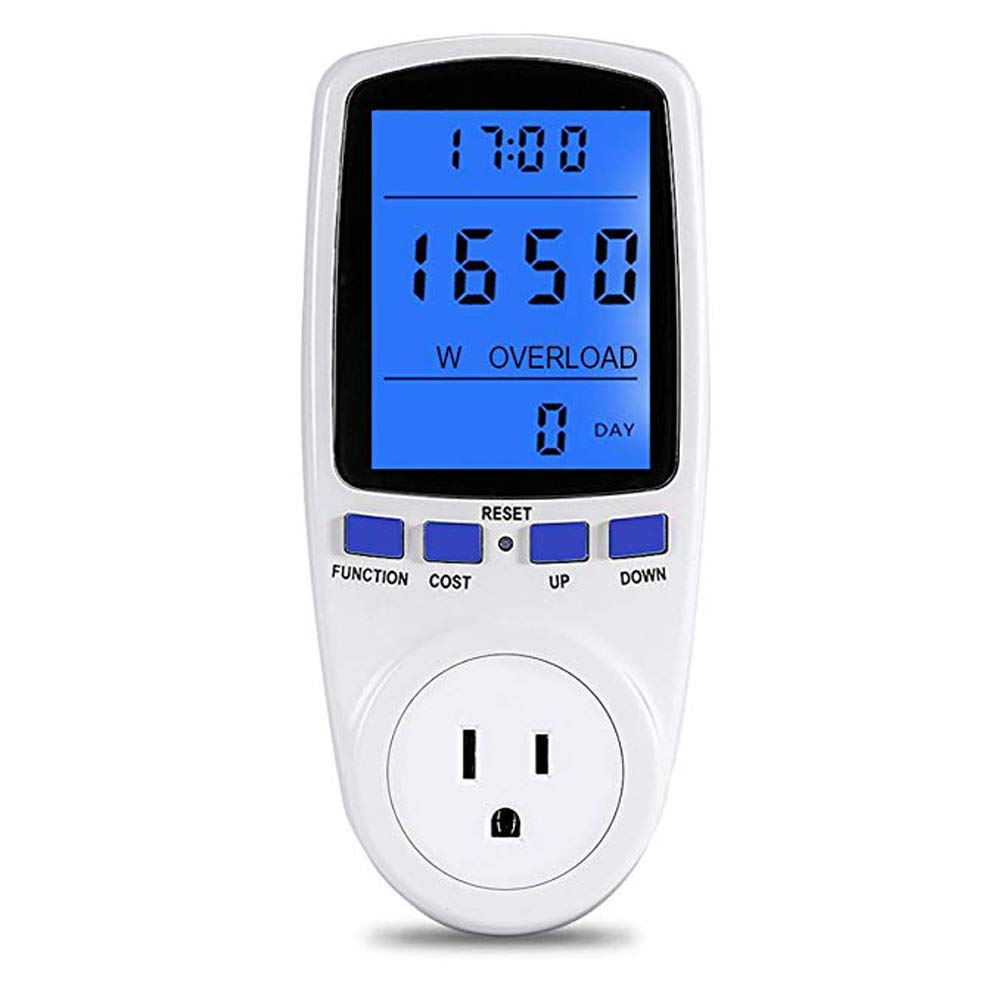 DSLOG Electricity Usage Monitor Power Meter Plug Home Energy Watt Volt Amps KWH Consumption Analyzer with Digital LCD Display Overload Protection (White)