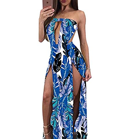 Women Sexy Backless Tube Top High Split Feather Print Maxi Dress Beachwear S Blue (Leg Split Dress)
