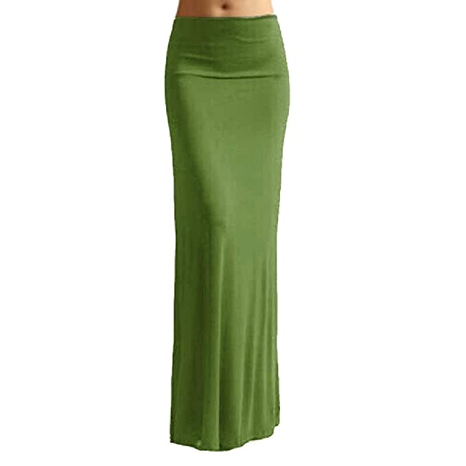 142217a569 Nicelly Women Oversize Candy Color Mermaid Tail Long Maxi Skirt Army Green  XS