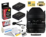 Sigma 8-16mm f/4.5-5.6 DC HSM FLD AF Ultra Wide Zoom Lens (203306) With 3 Year Extended Lens Warranty for the Nikon D3100 D3200 D3300 D5100 D5200 D5300 DSLR Camera - Includes 2 Replacement Nikon EN-EL14 Batteries 1800MAH Each 3600MAh in Total + Deluxe Len