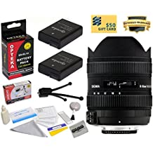 Sigma 8-16mm f/4.5-5.6 DC HSM FLD AF Ultra Wide Zoom Lens (203306) With 3 Year Extended Lens Warranty for the Nikon D3100 D3200 D3300 D5100 D5200 D5300 DSLR Camera - Includes 2 Replacement Nikon EN-EL14 Batteries 1800MAH Each 3600MAh in Total + Deluxe Lens Cleaning Kit + LCD Screen Protectors + Mini Tripod + 47stphoto Microfiber Cloth + $50 Photo Print Gift Card!