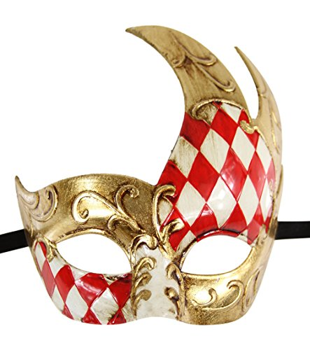 Luxury Mask Men's Vintage Design Masquerade Mask - Red/Gold Checkered for $<!--$25.00-->