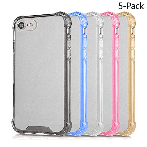 iPhone 7 8 Cases , Wholesale 5 in Pack AMBM Crystal TPU colorful Bumper Shockproof Drop Protection Cover, For Apple iPhone 7 iPhone 8 4.7 inches - Wholesale Case Pack