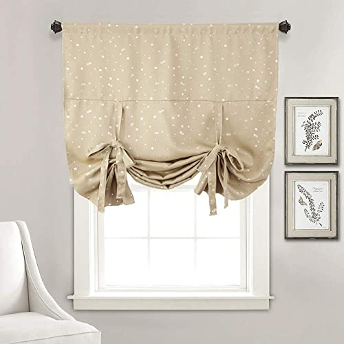 WUBODTI Beige Blackout Tie Up Shades Valance Curtains Thermal Insulated Balloon Window Treatments Room Darkening Drapes and Curtains for Kitchen Kids Bedroom Bursery Living Room Windows, 46 Wx63 L