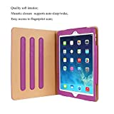 Hansong Leather Folio Multiple Viewing Angles Card Pocket Stand Case for Apple iPad Air 2 /New Pro 9.7(Purple)