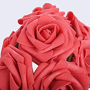 Egles Artificial Flower 20pcs Fake Flowers with Stems, Red Rose for Gif DIY Wedding Centerpieces Arrangements Birthday Home Party Bouquets Decor 2