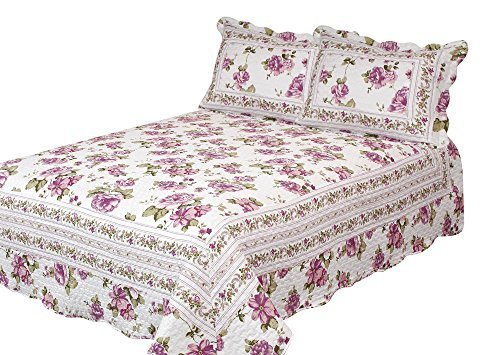 Patch Magic Peony Bloom 3-Piece Quilt Set Queen, Floral, Rose Purple (Quilt Peony Fabric)