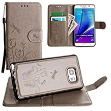 CellularOutfitter Samsung Galaxy Note 5 Wallet Case - Embossed Dragonfly Over Tulip Design w/ Matching Detachable Case and Wristlet - Gray