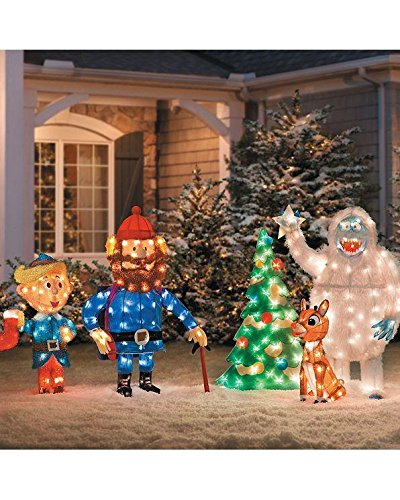 5 pc Pre Lit Rudolph Reindeer Bumble Tree Hermey Cornelius Outdoor Christmas Tinsel Display Yard by Officially Licensed Rudolph