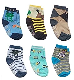 Deluxe Anti Non Skid Slip Slippery Crew Socks With Grips For Baby Toddler Kids Boys (2-4 Years, 6 pair/assorted)