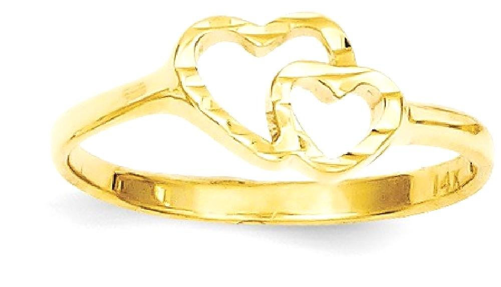 ICE CARATS 14k Yellow Gold Childrens Heart Band Ring Size 5.00 Baby Fine Jewelry Gift Set For Women Heart