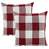 Hangood Throw Pillow Case Cushion Covers Cover Cotton Linen Plaid Red Set of 2pcs 18 X 18 inches