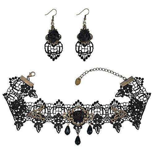 Enchan Black Rose Flower Lace Necklace Earrings Set, Gothic Lolita Pendant Choker Clothing Accessories Wedding Birthday Hallowen Christmas Custume ()