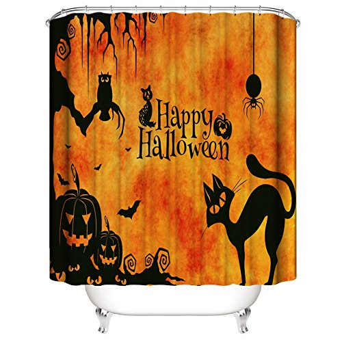 Muuyi Happy Halloween Shower Curtain, Cat Spider Owl Bat Tree Design All Saints Day Pumpkin Day Image, Waterproof Polyester Fabric Bathroom Shower Curtains Set with Hooks - 72×79 Inches