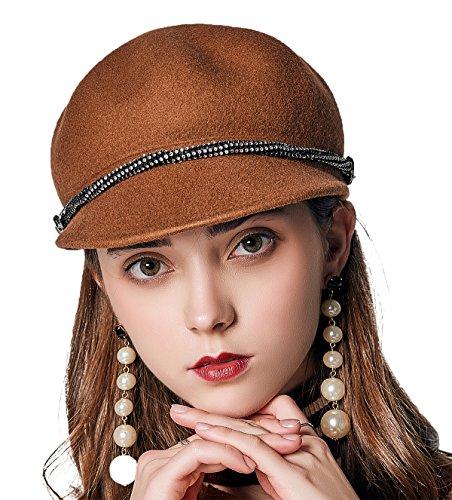 Dressy Wool Felt Hat (JNINTH Trendy 100% Wool Felt Bucket Hats Winter Soft Warm Visor Cap With Metal semicircle For Women Girl (Camel))