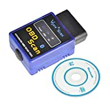 Car Vehicle Bluetooth Mini Small Interface OBD2 OBDII Scan Tool 16 Pin Scanner Adapter Code Reader Check Engine Light Diagnostics Compatible with Torq