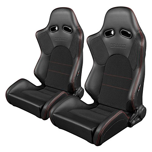 BRAUM Blk Leather Carbon Fiber Mix Racing Seats w/ Blk Fabric & Red Stitch -Pair