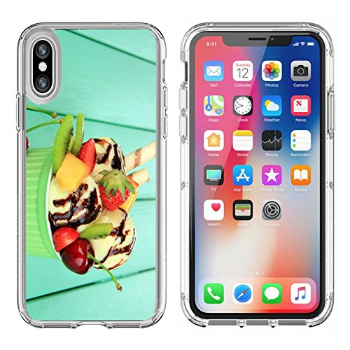 Crystal Berry Bowl - Luxlady Apple iPhone X Clear case Soft TPU Rubber Silicone Bumper Snap Cases iPhoneX IMAGE ID: 20502406 Delicious ice cream with fruits and berries in bowl on wooden table