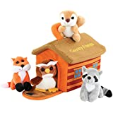 Hoovy Adorable Plush 'Country Friends' Animals Toy Set for Little Boys & Girls [Carrier Included] | Cute & Fluffy Stuffed Fox, Squirrel, Owl & Raccoon | Educational Animal Sounds Recording