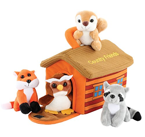 - Hoovy Adorable Plush 'Country Friends' Animals Toy Set for Little Boys & Girls [Carrier Included] | Cute & Fluffy Stuffed Fox, Squirrel, Owl & Raccoon | Educational Animal Sounds Recording