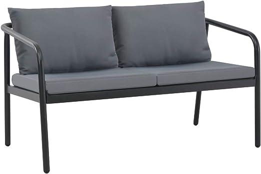 Festnight Exterior Sofá de 2 plazas de Jardín de Aluminio Gris 123 x 72,5 x 67 cm con Cojines: Amazon.es: Hogar