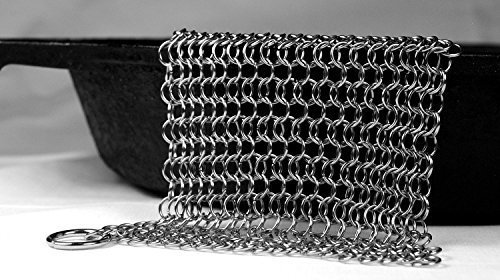 Knapp Made Small Ring Chainmail Scrubber - For Cast Iron, Premium Stainless Steel and Hard Anodized Cookware CMSM